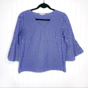 Jane and Delancey Blue Gingham Bell Sleeve Top
